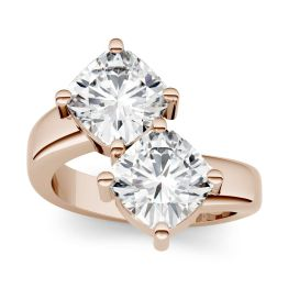 4.80 CTW DEW Cushion Forever One Moissanite Two Stone Ring 14K Rose Gold