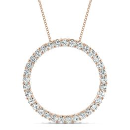 0.49 CTW DEW Round Forever One Moissanite Shared Prong Circle Necklace 14K Rose Gold