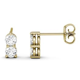 0.92 CTW DEW Round Forever One Moissanite Two Stone Drop Earrings 14K Yellow Gold