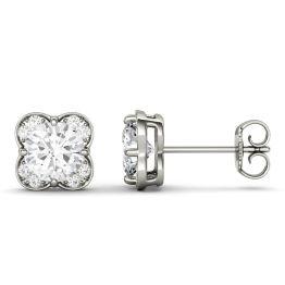 1.76 CTW DEW Round Forever One Moissanite Floral Earrings 14K White Gold