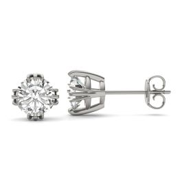 2.00 CTW DEW Round Forever One Moissanite Triple Prong Solitaire Stud Earrings 14K White Gold