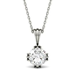 1.00 CTW DEW Round Forever One Moissanite Tripe Prong Solitaire Pendant Necklace 14K White Gold