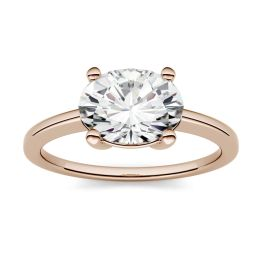 1.50 CTW DEW Oval Forever One Moissanite East-West Solitaire Engagement Ring 14K Rose Gold