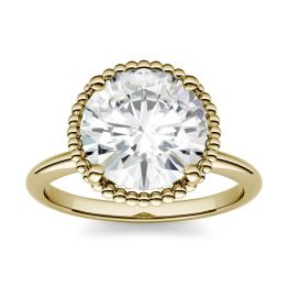 0.60 CTW DEW Round Forever One Moissanite Beaded Solitaire Engagement Ring 14K Yellow Gold