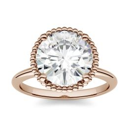 1.00 CTW DEW Round Forever One Moissanite Beaded Solitaire Engagement Ring 14K Rose Gold