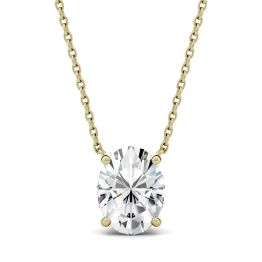 1.50 CTW DEW Oval Forever One Moissanite Solitaire Pendant Necklace 14K Yellow Gold