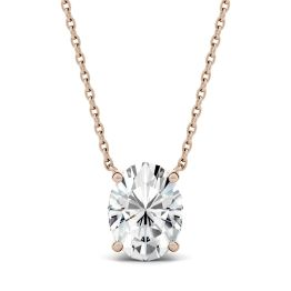 1.50 CTW DEW Oval Forever One Moissanite Solitaire Pendant Necklace 14K Rose Gold