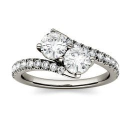 1.47 CTW DEW Round Forever One Moissanite Two Stone Ring 14K White Gold