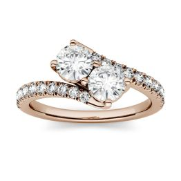 1.47 CTW DEW Round Forever One Moissanite Two Stone Ring 14K Rose Gold