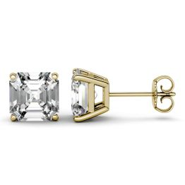 2.60 CTW DEW Asscher Forever One Moissanite Four Prong Solitaire Stud Earrings 14K Yellow Gold
