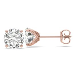 5.40 CTW DEW Round Forever One Moissanite Four Prong Martini Solitaire Stud Earrings 14K Rose Gold