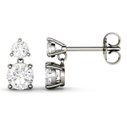 2.06 CTW DEW Round Forever One Moissanite Two Stone Drop Earrings 14K White Gold