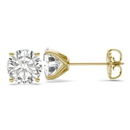 7.20 CTW DEW Round Forever One Moissanite Four Prong Martini Solitaire Stud Earrings 14K Yellow Gold