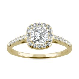 0.84 CTW DEW Cushion Forever One Moissanite Halo with Side Accents Engagement Ring 14K Yellow Gold