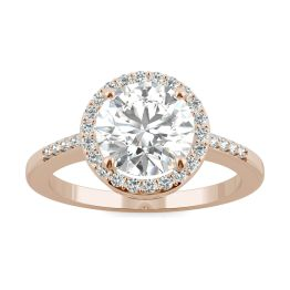 2.14 CTW DEW Round Forever One Moissanite Halo with Side Accents Engagement Ring 14K Rose Gold