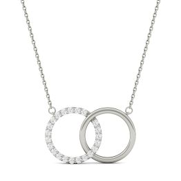 0.33 CTW DEW Round Forever One Moissanite Linked Circle Pendant Necklace 14K White Gold