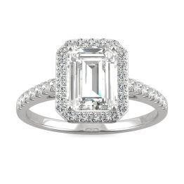 2.04 CTW DEW Emerald Forever One Moissanite Halo with Side Accents Engagement Ring 14K White Gold