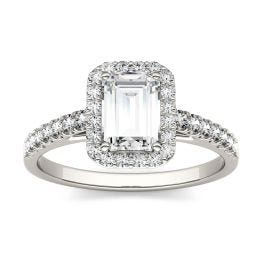 1.28 CTW DEW Emerald Forever One Moissanite Halo with Side Accents Engagement Ring 14K White Gold