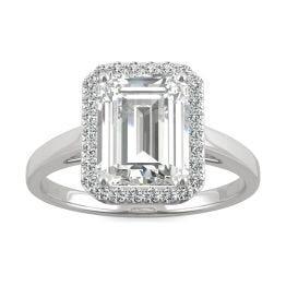 3.77 CTW DEW Emerald Forever One Moissanite Halo Engagement Ring 14K White Gold