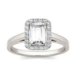 1.17 CTW DEW Emerald Forever One Moissanite Halo Engagement Ring 14K White Gold