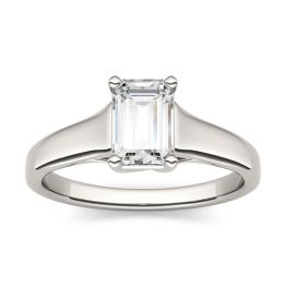 0.58 CTW DEW Emerald Forever One Moissanite Solitaire Engagement Ring 14K White Gold