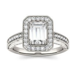 2.09 CTW DEW Emerald Forever One Moissanite Halo with Side Accents Engagement Ring 14K White Gold
