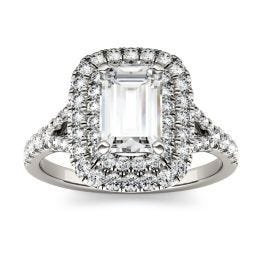 1.05 CTW DEW Emerald Forever One Moissanite Double Halo with Side Accents Engagement Ring 14K White Gold