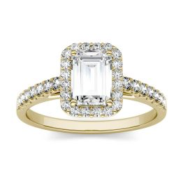 0.84 CTW DEW Emerald Forever One Moissanite Halo with Side Accents Engagement Ring 14K Yellow Gold