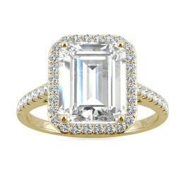 3.89 CTW DEW Emerald Forever One Moissanite Halo with Side Accents Engagement Ring 14K Yellow Gold