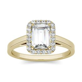 1.93 CTW DEW Emerald Forever One Moissanite Halo Engagement Ring 14K Yellow Gold