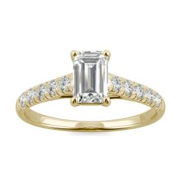 0.76 CTW DEW Emerald Forever One Moissanite Solitaire with Side Accents Engagement Ring 14K Yellow Gold