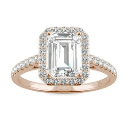 2.04 CTW DEW Emerald Forever One Moissanite Halo with Side Accents Engagement Ring 14K Rose Gold