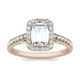0.84 CTW DEW Emerald Forever One Moissanite Halo with Side Accents Engagement Ring 14K Rose Gold