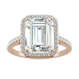 3.89 CTW DEW Emerald Forever One Moissanite Halo with Side Accents Engagement Ring 14K Rose Gold