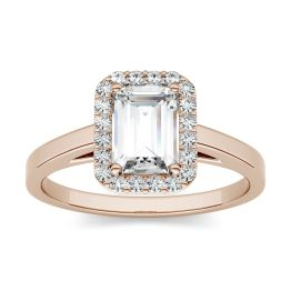 0.72 CTW DEW Emerald Forever One Moissanite Halo Engagement Ring 14K Rose Gold