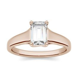 2.52 CTW DEW Emerald Forever One Moissanite Solitaire Engagement Ring 14K Rose Gold