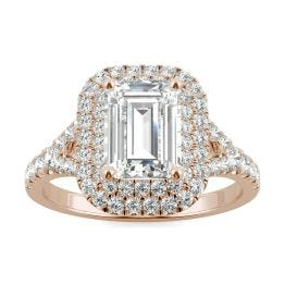 2.27 CTW DEW Emerald Forever One Moissanite Double Halo with Side Accents Engagement Ring 14K Rose Gold