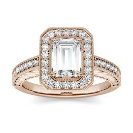 2.09 CTW DEW Emerald Forever One Moissanite Halo with Side Accents Engagement Ring 14K Rose Gold
