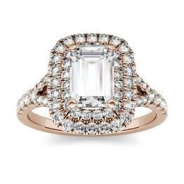 1.51 CTW DEW Emerald Forever One Moissanite Double Halo with Side Accents Engagement Ring 14K Rose Gold