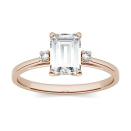 1.05 CTW DEW Emerald Forever One Moissanite Solitaire with Side Accents Engagement Ring 14K Rose Gold