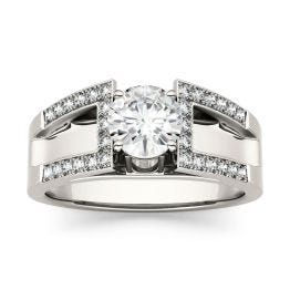 1.30 CTW DEW Round Forever One Moissanite Solitaire Fashion Ring 14K White Gold