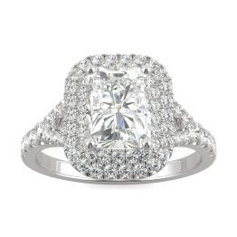 2.32 CTW DEW Radiant Forever One Moissanite Double Halo with Side Accents Engagement Ring 14K White Gold
