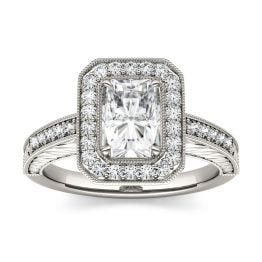 2.14 CTW DEW Radiant Forever One Moissanite Halo with Side Accents Engagement Ring 14K White Gold
