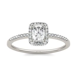 1.40 CTW DEW Radiant Forever One Moissanite Halo with Side Accents Engagement Ring 14K White Gold