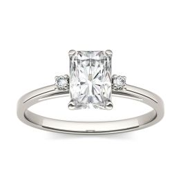 1.82 CTW DEW Radiant Forever One Moissanite Solitaire with Side Accents Engagement Ring 14K White Gold