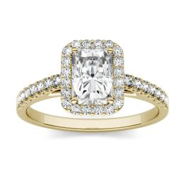 1.47 CTW DEW Radiant Forever One Moissanite Halo with Side Stones Engagement Ring 14K Yellow Gold