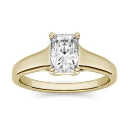 0.70 CTW DEW Radiant Forever One Moissanite Solitaire Engagement Ring 14K Yellow Gold