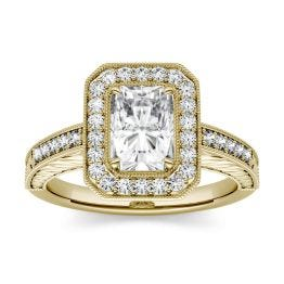 2.14 CTW DEW Radiant Forever One Moissanite Halo with Side Accents Engagement Ring 14K Yellow Gold