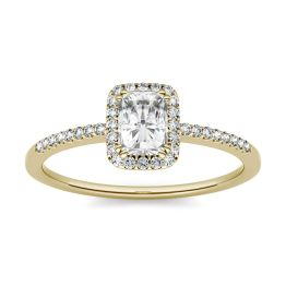 0.81 CTW DEW Radiant Forever One Moissanite Halo with Side Accents Engagement Ring 14K Yellow Gold