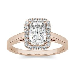 1.36 CTW DEW Radiant Forever One Moissanite Halo Engagement Ring 14K Rose Gold